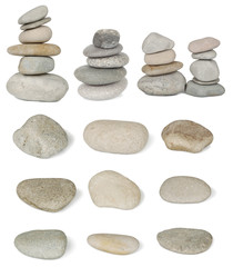 Set of pile stones from the river are isolated on white