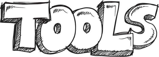Doodle Sketch Word Tools Vector Illustration Art