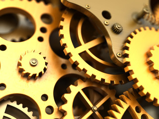 Fantasy golden clockwork. Industrial background