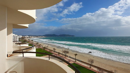 Beach of Mediterranean Sea at Cala Millor - Majorca island