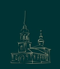 orthodox russian church outline drawn