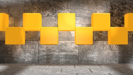 shining yellow boxes in concrete interior
