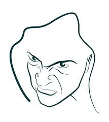 evil man portrait in hood