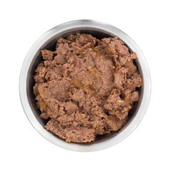 Beef dog food in large bowl