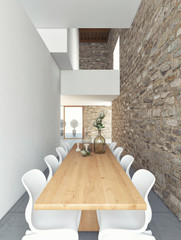 Table In The Room With Stone Wall