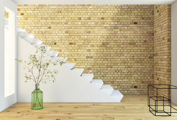 Brickwall And Stairs With Plant