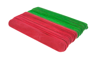 New craft sticks in holiday green and red