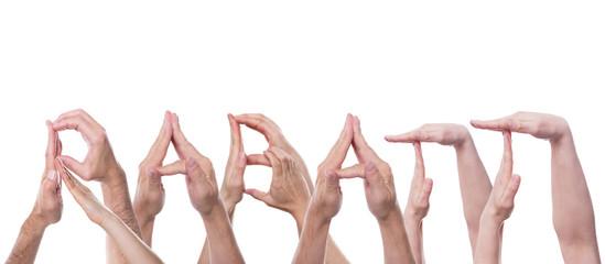 Das Wort Rabatt aus Händen geformt