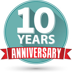 Flat design 10 years anniversary label with red ribbon, vector i