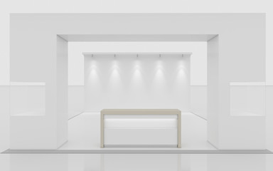 White Exhibition Stand With A Wall