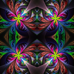 Symmetric multicolored fractal tracery. Collection - frosty patt
