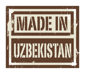 Abstract stamp or label with text Made in Uzbekistan