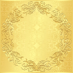 Luxury golden background with vintage floral pattern