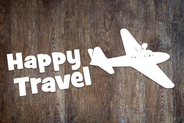 Concept of happy journey by the plane