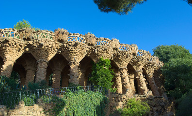 Parc guell in barcelona designed by antonio gaudi
