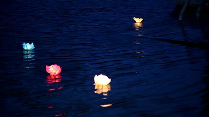 water lanterns in the river. natural night water background