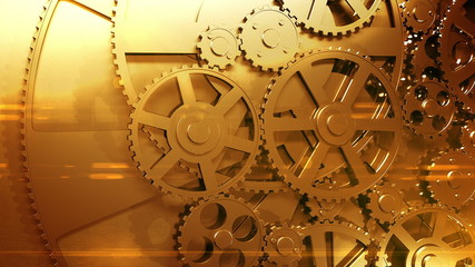 Golden Gears Rotating in Looped Animation. HD 1080.