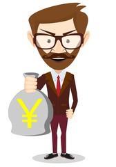Businessman holding a bag of money, vector illustration