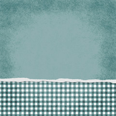 Square Teal and White Gingham Torn Grunge Textured Background