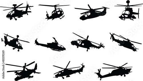 The set of Military Helicopter silhouette - 80319269