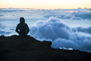 Watching Sunset Above Maui Clouds