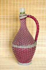 vintage wicker braided wine bottle