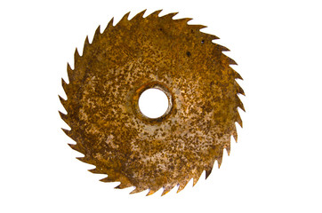 Old rusty circular saw blade isolated on white