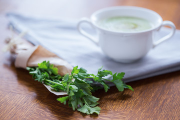 Parsley and white cup