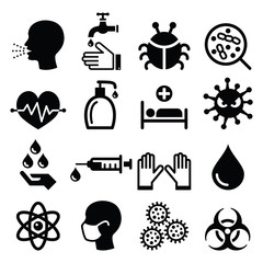 Infection, virus - health icons set