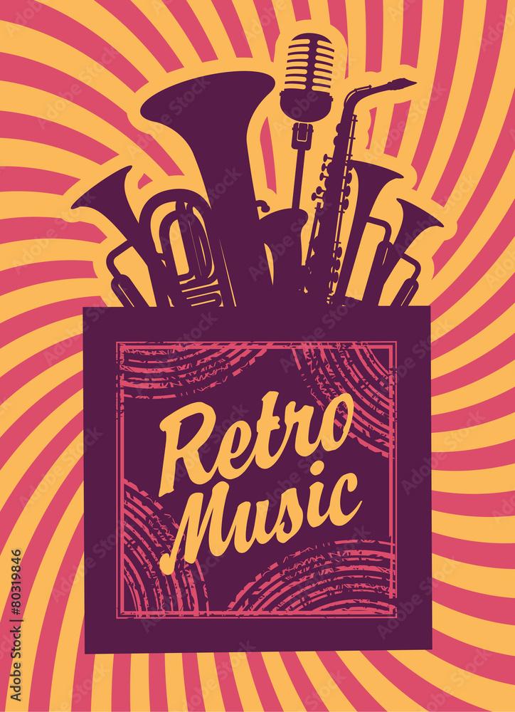 Plakat Napis Retro Muzyczne Instrumenty Dęte Drewniane I Mikrofon