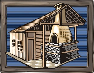 Fire Oven Vector Illustration in Woodcut Style