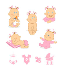 Happy baby girl and baby icons vector set
