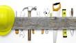 Leinwandbild Motiv Various tools and wood with copy-space, isolated on white