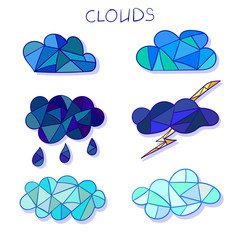 Set of mosaic clouds. Vector icons.