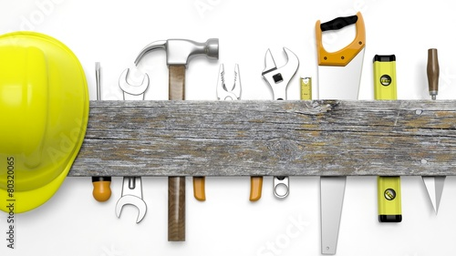 Various tools and wood with copy-space, isolated on white - 80320065