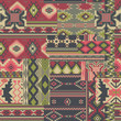 Native American fabric patchwork vector seamless patterns - 80320224
