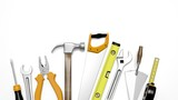 Various tools isolated on white background