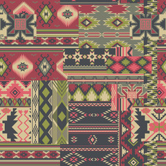 Native American fabric patchwork vector seamless patterns