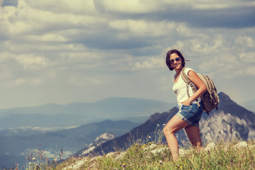 Woman walk on the mountain hill