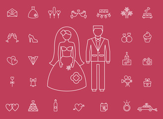 Marriage bridal icons in modern line style
