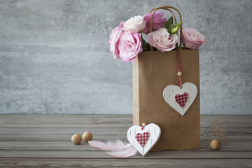 Romantic still life background with roses