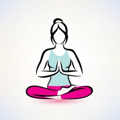 yoga lotus pose, women wellness concept