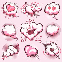 Comic elements for Valentines Day with explosions, hearts and