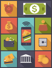 Money and Finance flat icons vector illustration