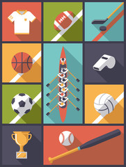 Flat Design Team Sports Flat Icons Vector Illustration