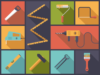 DIY tools Flat Icons Vector Illustration