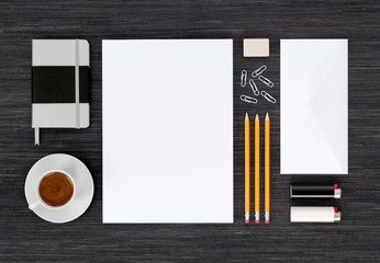Top view of branding identity stationery mock up on black table