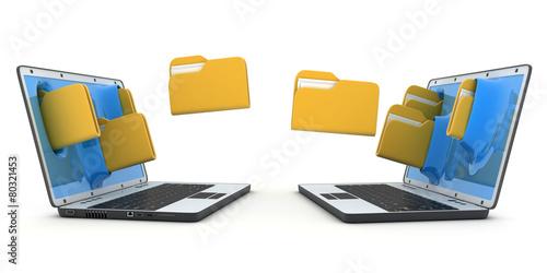 Leinwandbild Motiv Laptops and file