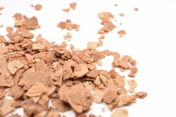 Chocolate cereals isolate on a white background.