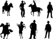 Set of cowboy silhouettes - 80322010